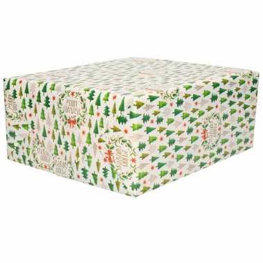 1x rollen kerst cadeaupapier/inpakpapier wit met kleine kerstbooms print 200 x 70 cm