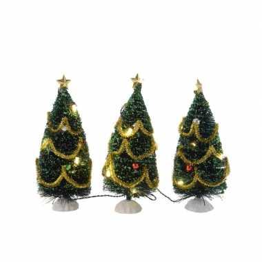 3x kerstdorp kleine kerstbooms met verlichting 16 cm
