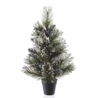 Besneeuwde kleine kunst kerstboom in pot 60 cm