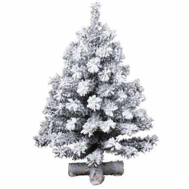 Besneeuwde kleine kunst kerstboom op kruispoot 35 cm kunstbomen