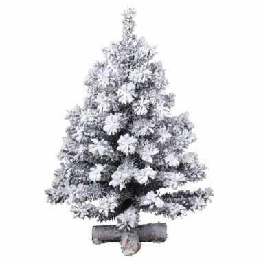 Besneeuwde kleine kunst kerstboom op kruispoot 60 cm kunstbomen