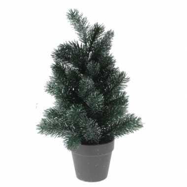 Bureau kleine kerstboom zilveren glitters 40 cm