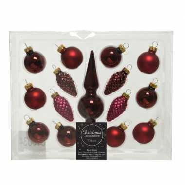 Donkerrode glazen kerstballen en piek set voor kleine kerstboom 15 dlg