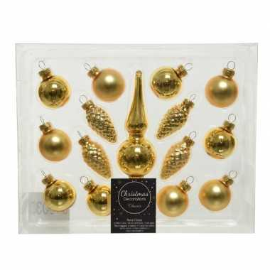 Gouden glazen kerstballen en piek set voor kleine kerstboom 15 dlg