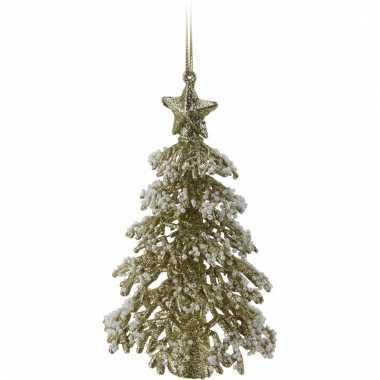 Gouden glitter kleine kerstboom 16 cm