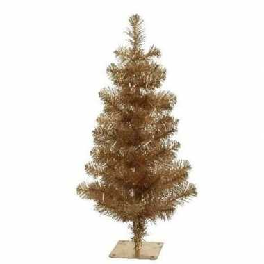 Gouden kleine kunst kerstboom 60 cm met 70 takjes en metalen voet