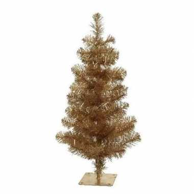 Gouden kleine kunst kerstboom 75 cm met voet