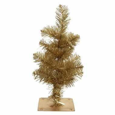Gouden kleine kunst kerstboom/kunstboom 35 cm met metalen voet