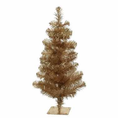 Gouden kleine kunst kerstboom/kunstboom 45 cm met metalen voet