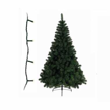 Groene kleine kunst kerstboom 150 cm inclusief gekleurde kerstverlichting
