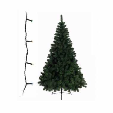 Groene kleine kunst kerstboom 210 cm inclusief gekleurde kerstverlichting