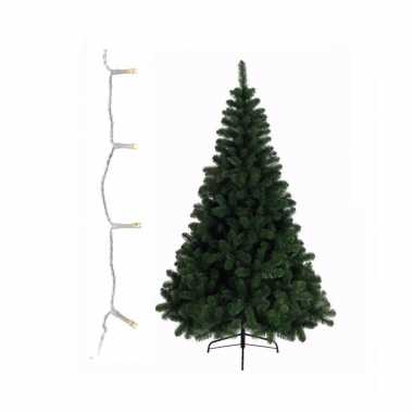 Groene kleine kunst kerstboom 210 cm inclusief warm witte kerstverlichting