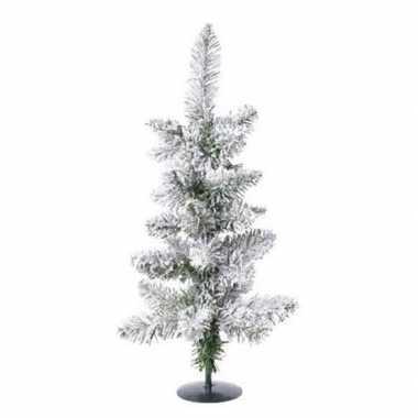 Groene kleine kunst kerstboom 60 cm met sneeuw