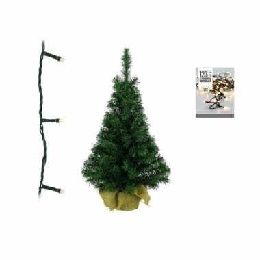 Groene kleine kunst kerstboom 90 cm inclusief warm witte kerstverlichting