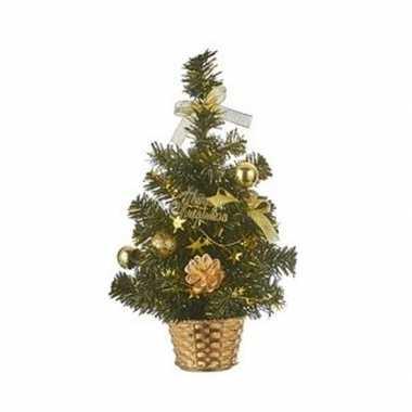 Kantoor kleine kerstboom goud 32 cm