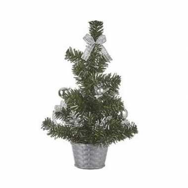 Kantoor kleine kerstboom zilver 32 cm