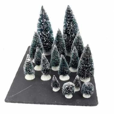 Kerstdorp onderdelen kleine miniatuur set van 16x boompjes