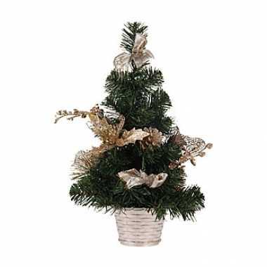 Kleine kerstboom met gouden details