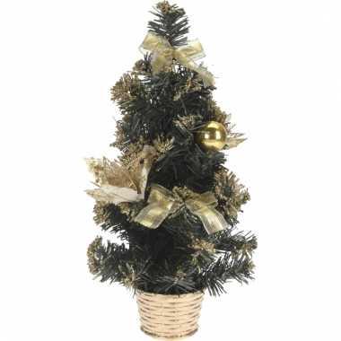 Kleine kerstboom met gouden versiering 40 cm
