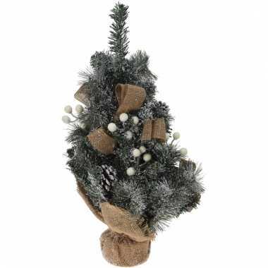 Kleine kerstboom met jute versiering wit 50 cm