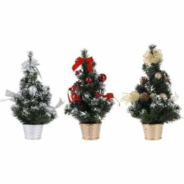 Kleine kerstboom met rode versiering 40 cm