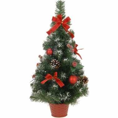 Kleine kerstboom met rode versiering 60 cm