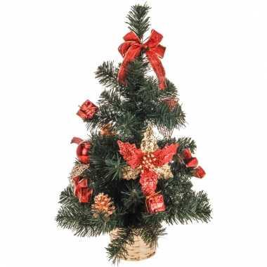 Kleine kerstboom met versiering rood/goud 50 cm