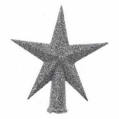 Kleine kerstboom piek zilver glitter