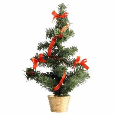 Kleine kerstboom versierd goud/rood 36 cm