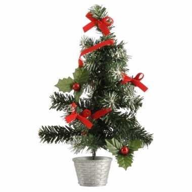 Kleine kerstboom versierd zilver/rood 36 cm