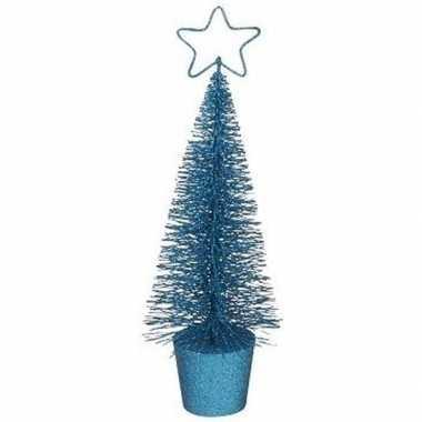 Kleine kerstmis decoratie boompje blauw 10096803