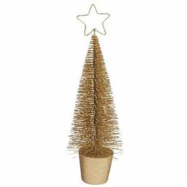Kleine kerstmis decoratie boompje goud 10096806