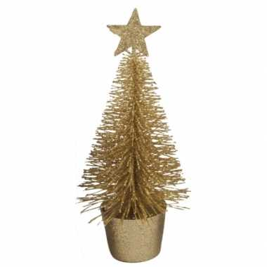 Kleine kerstmis decoratie boompje goud