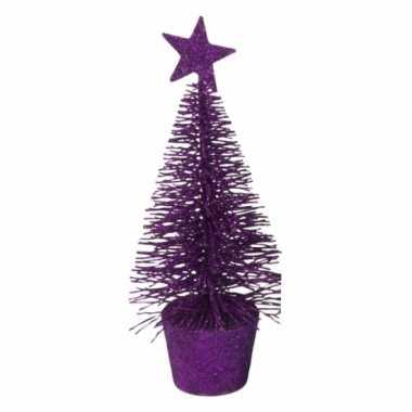 Kleine kerstmis decoratie boompje paars