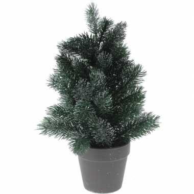 Kleine kleine kunst kerstboom 29 cm groen/zilver