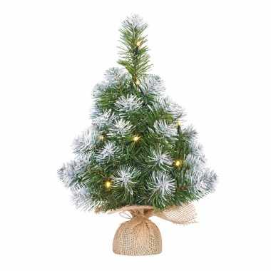 Kleine kleine kunst kerstboom/kunstboom in jute zak met verlichting en sneeuw 45 cm
