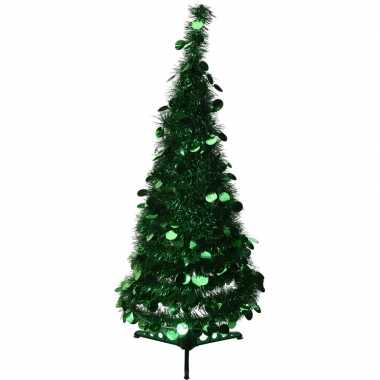 Kleine kunst kerstboom 90 cm lametta grote pailletten