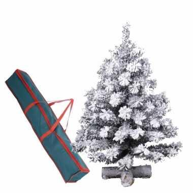 Kleine kunst kerstboom groen/sneeuw 90 cm op kruis inclusief opbergzak
