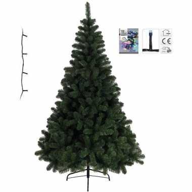 Kleine kunst kerstboom imperial pine 120 cm met gekleurde verlichting