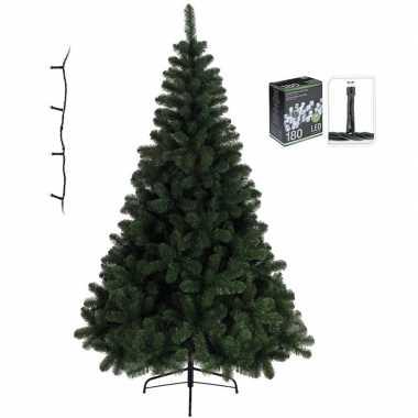 Kleine kunst kerstboom imperial pine 120 cm met helder witte verlicht