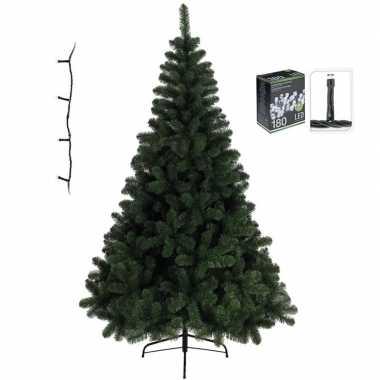 Kleine kunst kerstboom imperial pine 120 cm met warm witte verlichtin