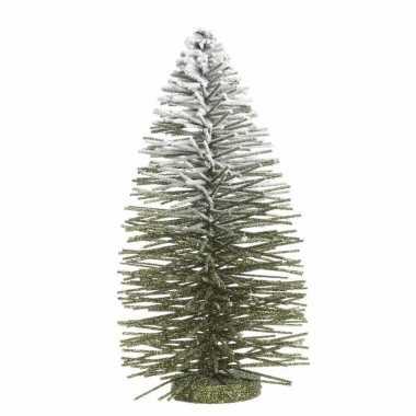 Kleine kunst kerstboom met besneeuwde top 35 cm
