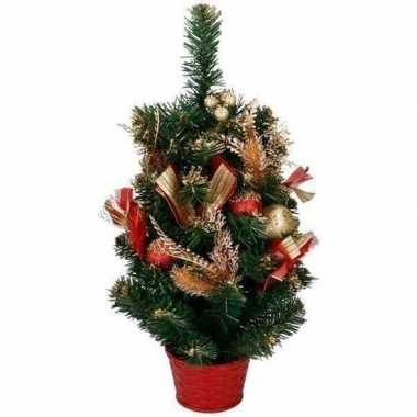 Kleine kunst kerstboom met rood / goud versiering kerst decoratie 50