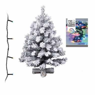 Kleine kunst kerstboom met sneeuw 90 cm inclusief gekleurde kerstverlichting