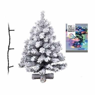 Kleine kunst kerstboom met sneeuw 90 cm inclusief helder witte kerstverlichting
