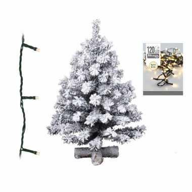 Kleine kunst kerstboom met sneeuw 90 cm inclusief warm witte kerstverlichting
