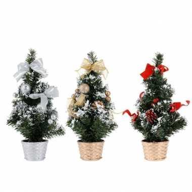 Kleine kunst kerstboom versierd 30 cm