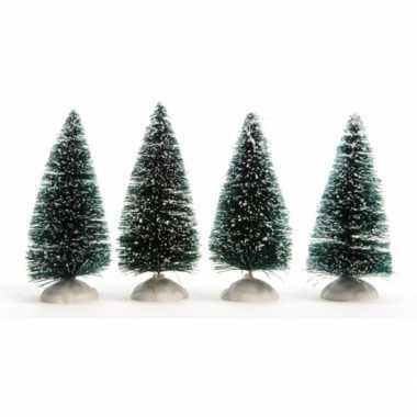 Kleine miniatuur boompjes met sneeuw 4 stuks