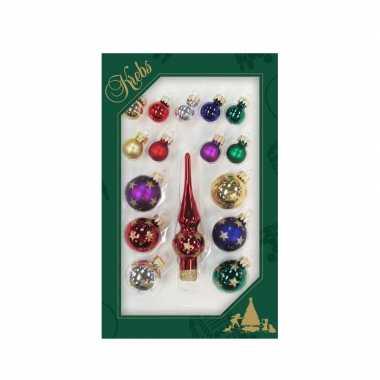 Luxe gekleurde glazen kerstballen en piek set voor kleine kerstboom 16 dlg
