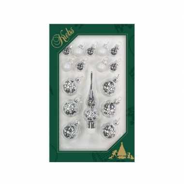 Luxe zilveren glazen kerstballen en piek set voor kleine kerstboom 16 dlg